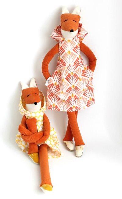 Miss Fox doll, stuffed animal, cool softies, child friendly soft toy, plush, cloth doll, modern kids nursery room decor gift toy