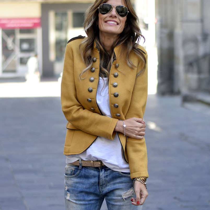 Mustard Military Style Jacket - Spring Outfit - Blazers