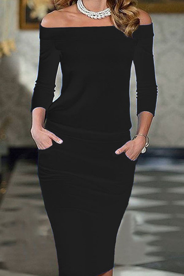 Off Shoulder Black Bodycon Pencil Dress