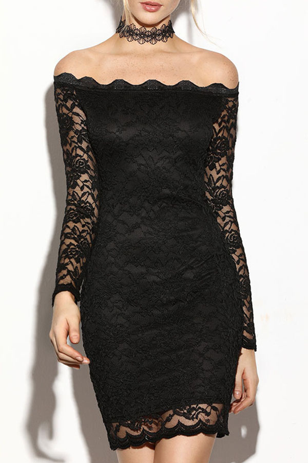Off-Shoulder Fitted Lace Black Dress with Long Sleeves
