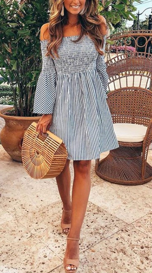 Off-Shoulder Striped white and grey Dress