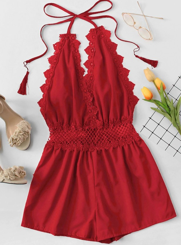 Open Back Halter Red Romper