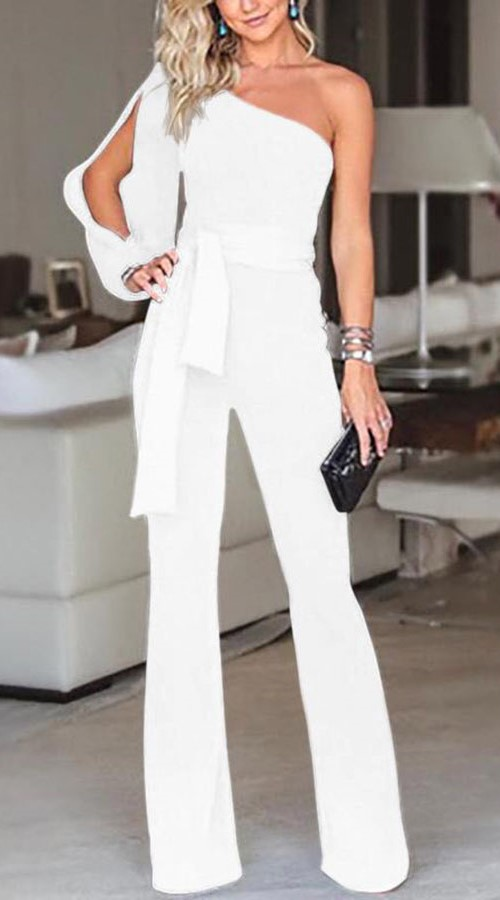 Open Shoulder White Jumpsuit