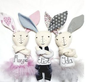 Personalized Bunny Doll with name - cloth doll - gift for girl - gift for boy - Newborn Gift