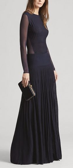 Pleated Long-Sleeve Gown by Ralph Lauren