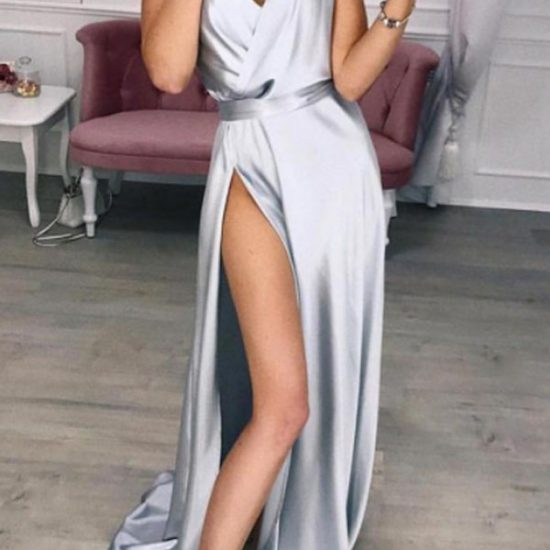 Silver Long Dress with Spaghetti Straps and High Slit