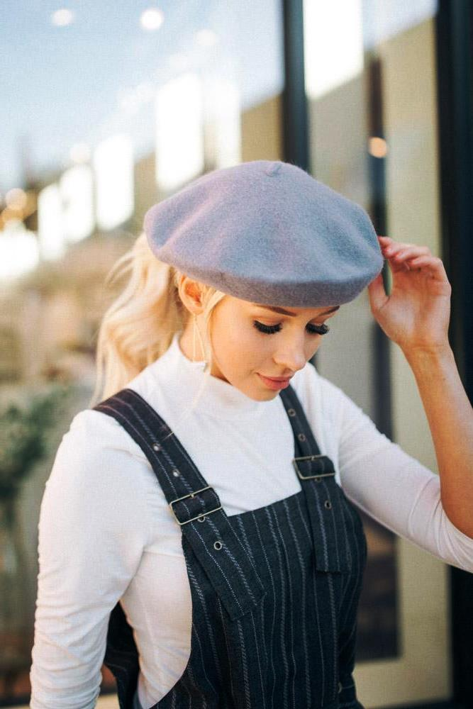 Slouchy Wool Beret in Grey