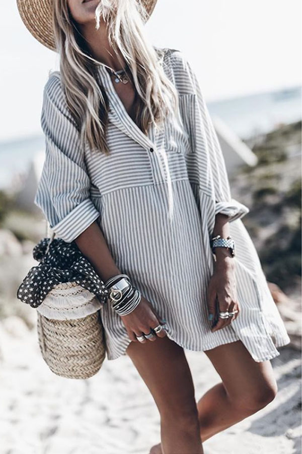 Striped Casual Dresses with Long Sleeves