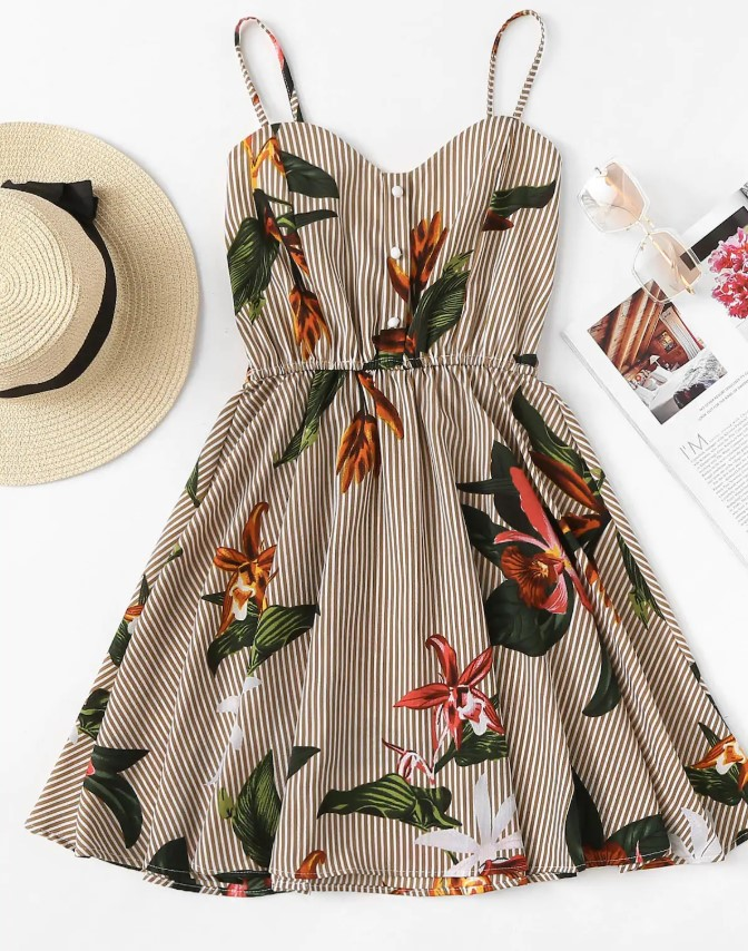 Striped Floral Print Dress