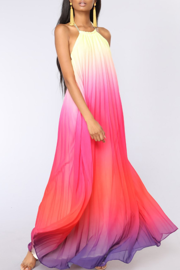 Summer Colored Gradient Maxi Dress