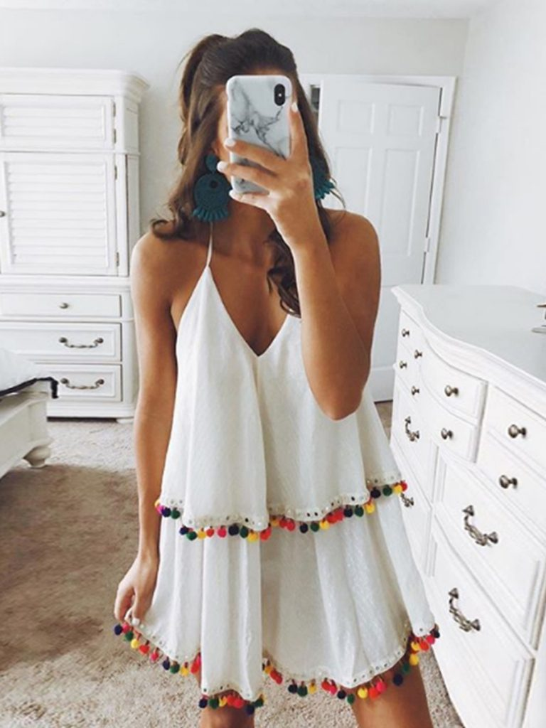 Summer Flounce Dress with colored pom poms
