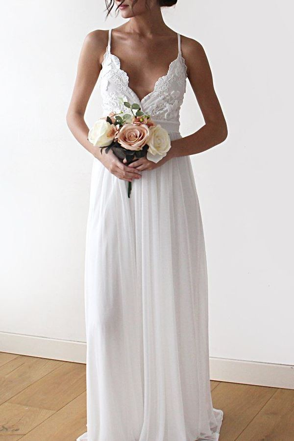 Summer Flower Lace ivory Wedding Dress with spaghetti straps