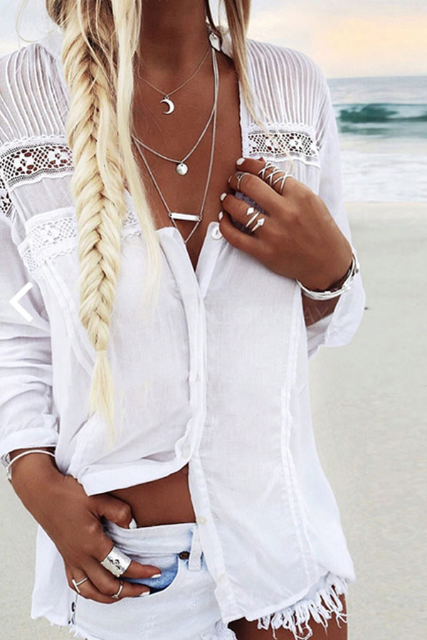 Summer Long Sleeve White Blouse - Beach Outfit