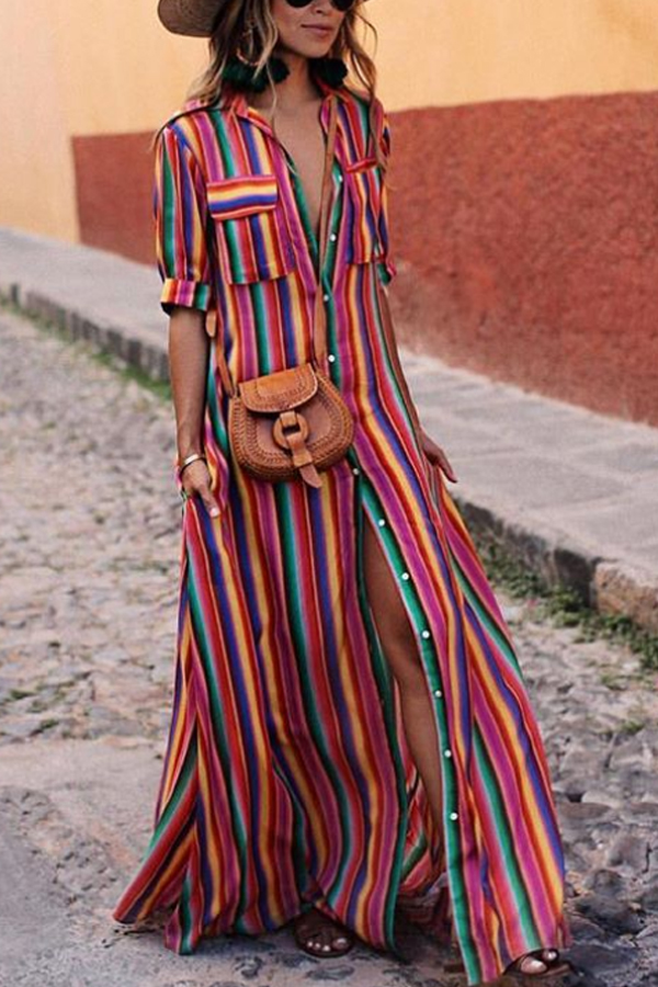 Summer Spring Casual Stripes Maxi Dresses with Roll Up Sleeve - Half Sleeve