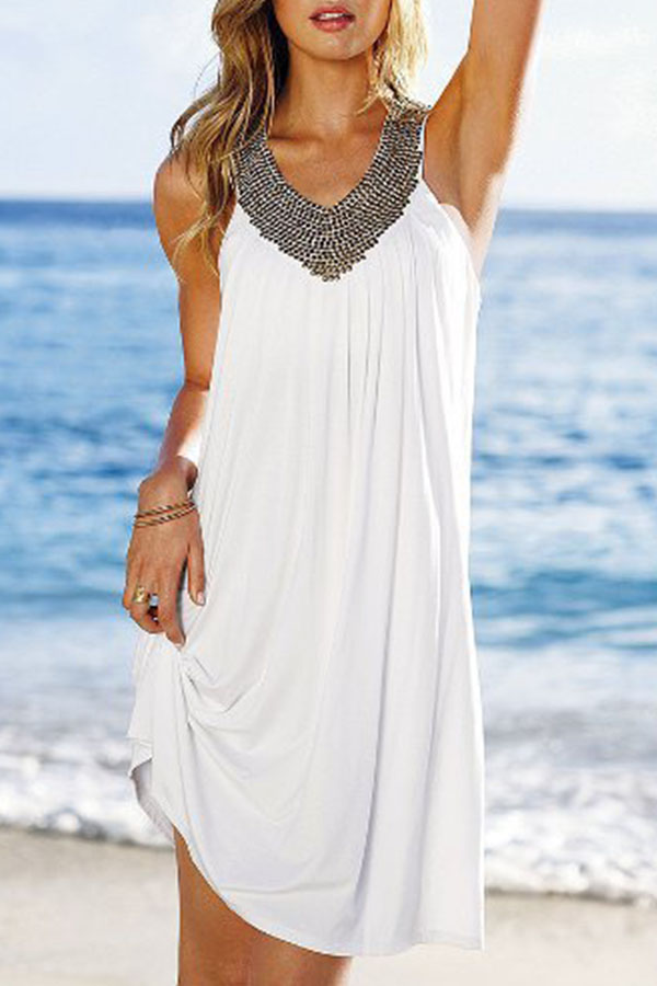 Summer White Dress with Beading V-Neck