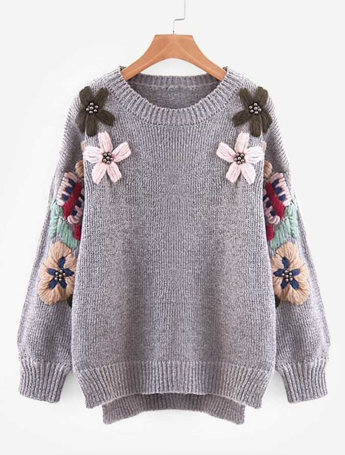 Sweater with Wool Flowers & Beads