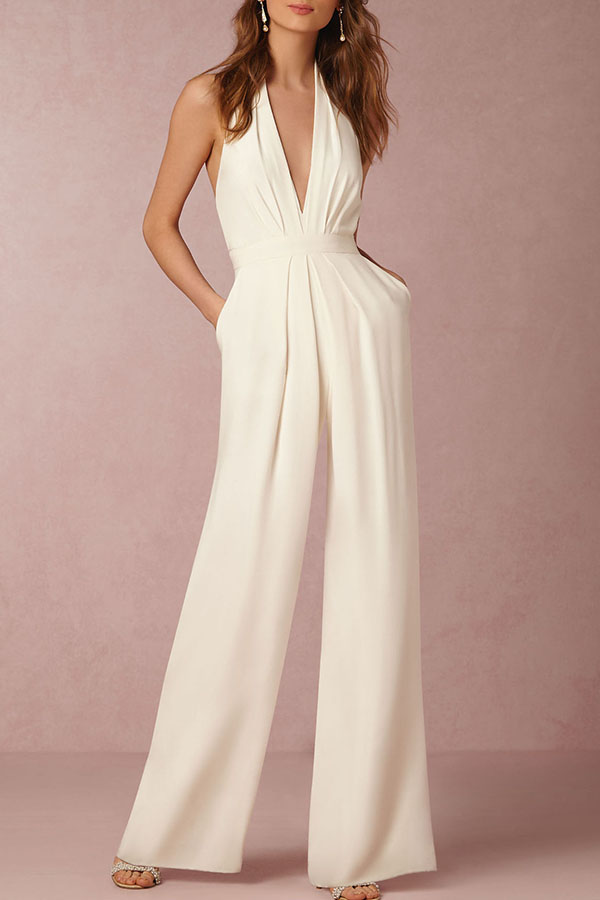 White Backless Jumpsuit with Halter Neck and pockets