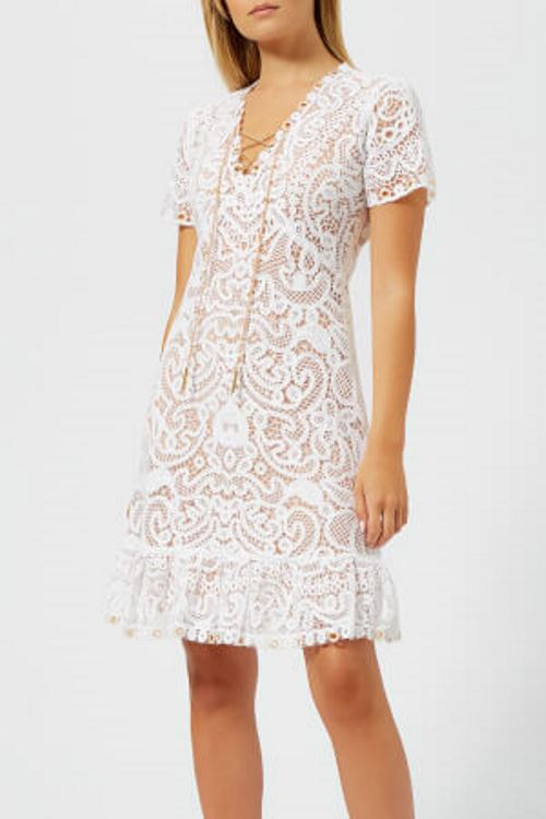 White Embroidered Mini Dress by Michael Kors
