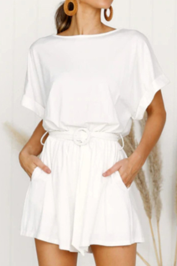 White Short Jumpsuit with Belt