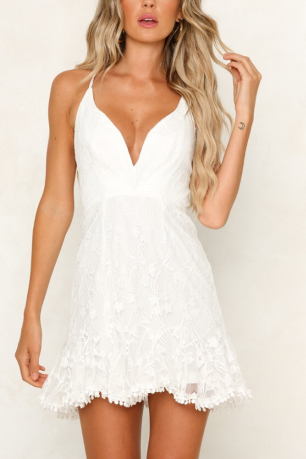 White Skater Lace Dress with Spaghetti Straps