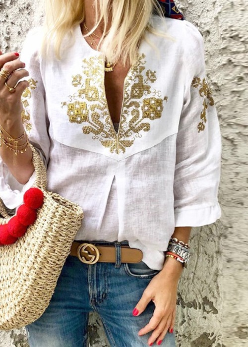 White and Gold Boho Blouse