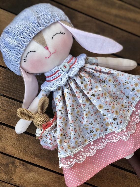 baby first bunny cloth doll, handmade bunny rag doll, Soft stuffed bunny rag doll, baby girls toy, toddlers animal doll, rabbit cloth doll,