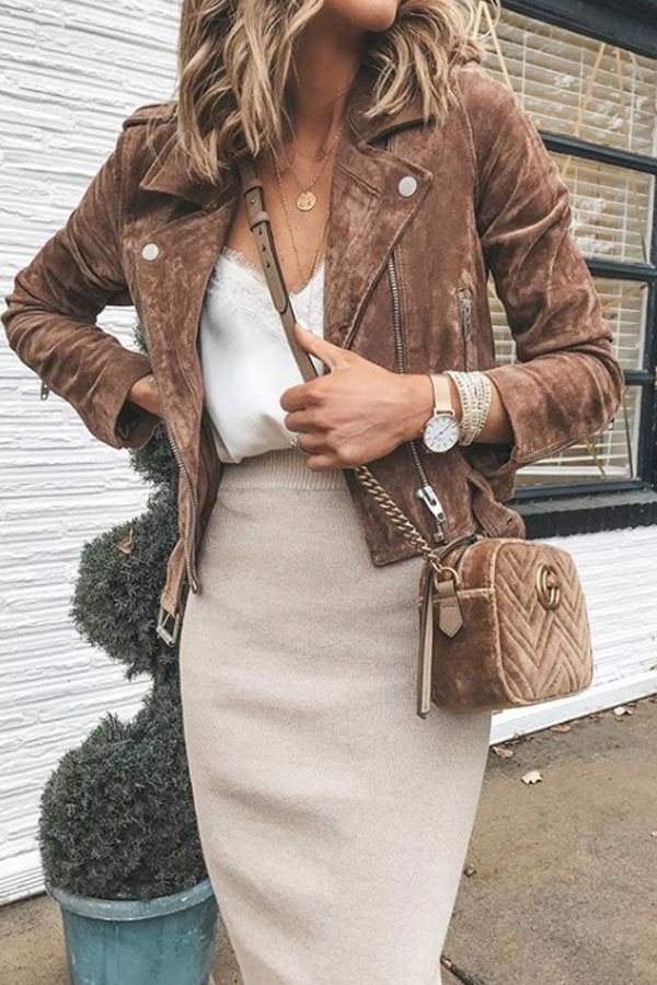 beautiful autumn outfit - brown and beige