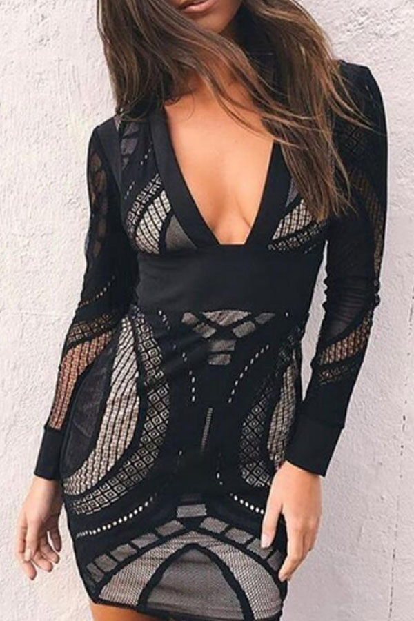 black long-sleeved tight dress combining lace and transparencies with pronounced neckline and fitted waist
