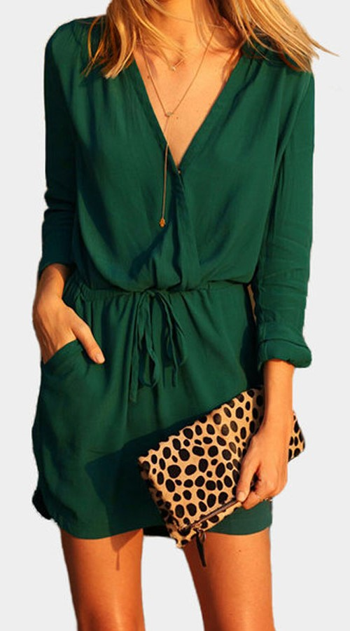 casual cotton dark green dress
