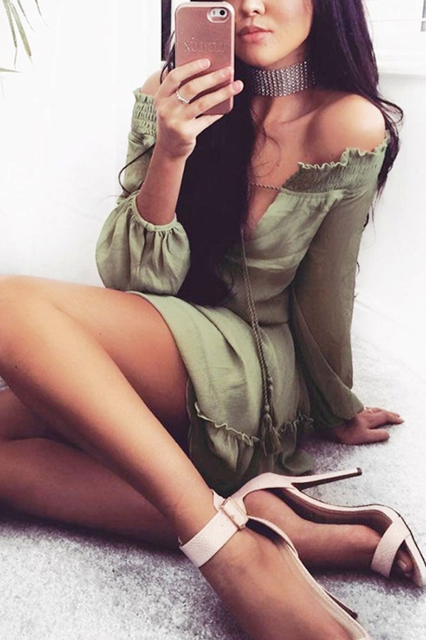 casual spring olive green skater dresses with long sleeves
