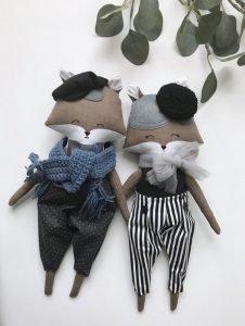 cloth doll for boys, nursery decor fox boy doll, fox rag doll, fox doll with bow tie, stuffed fox boy, textile doll boy, artdoll fox boy