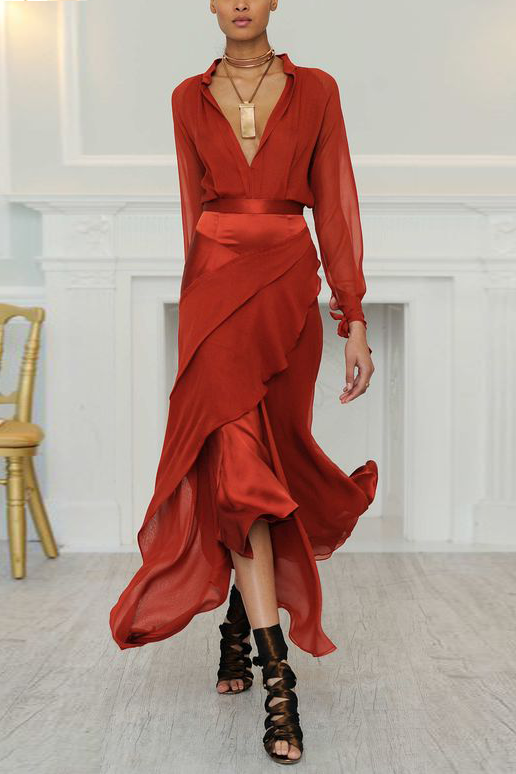 gorgeous red long-sleeve dress with layered skirt and plunging neckline ... I combine it with other sandals