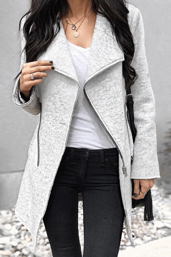 i love this Light Grey Jacket with Fold Over Collar