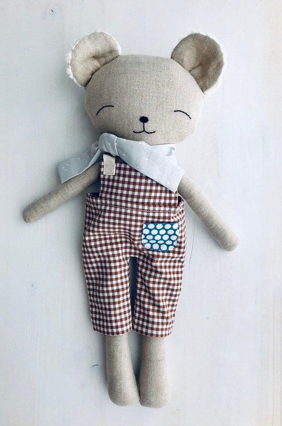 linen doll, stuffed bear doll, cloth doll, stuffed bear toy, handmade linen doll, linen bear