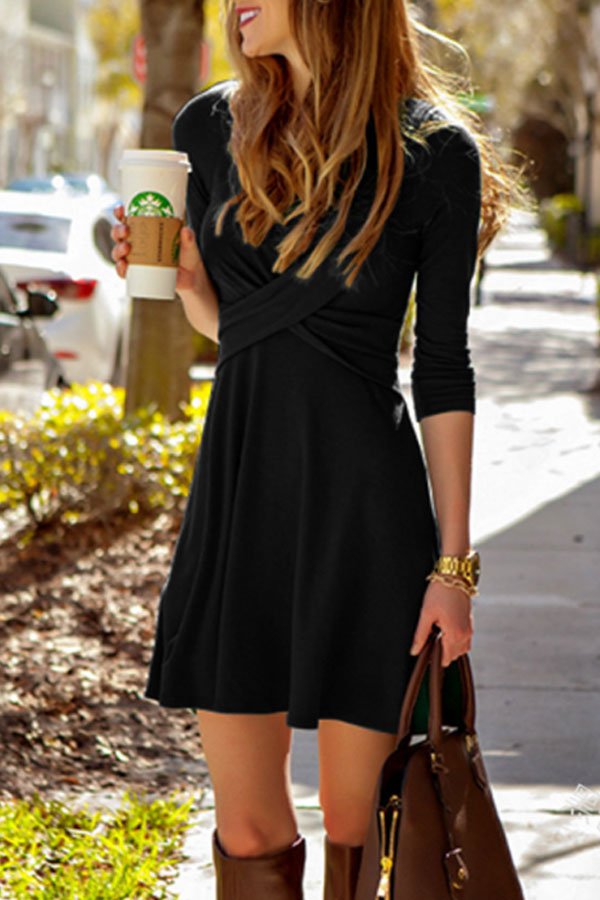little black dress with crossed V-neck