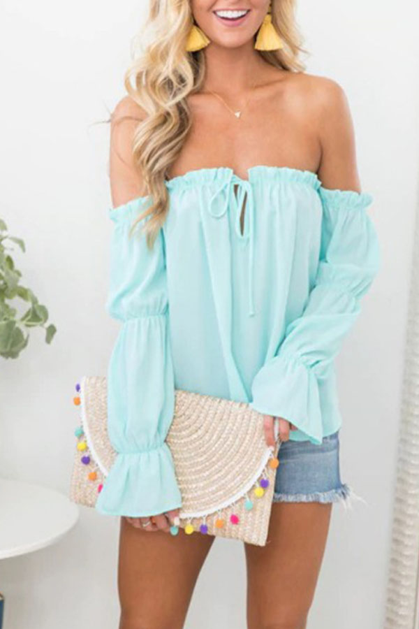 lovely boho summer outfit ! short with off-shoulder blouse and yellow tassel earings