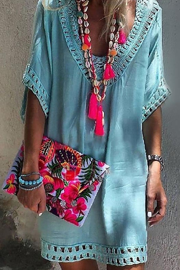 lovely summer outfit ! a beautiful pale rose beach dress with boho necklace and a cute hippychic clutch