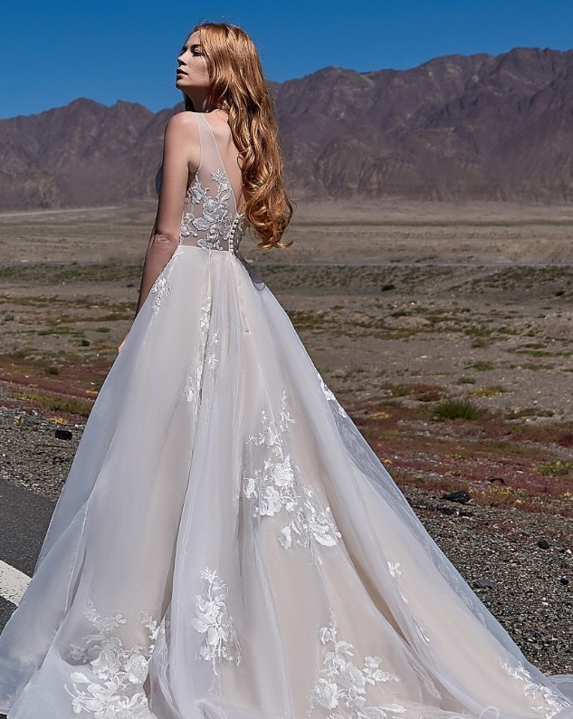 organza and tulle bridal gown - a-line wedding dress with cour train