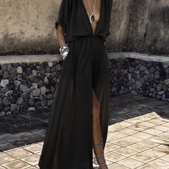 stunning black empire style dress with deep neckline