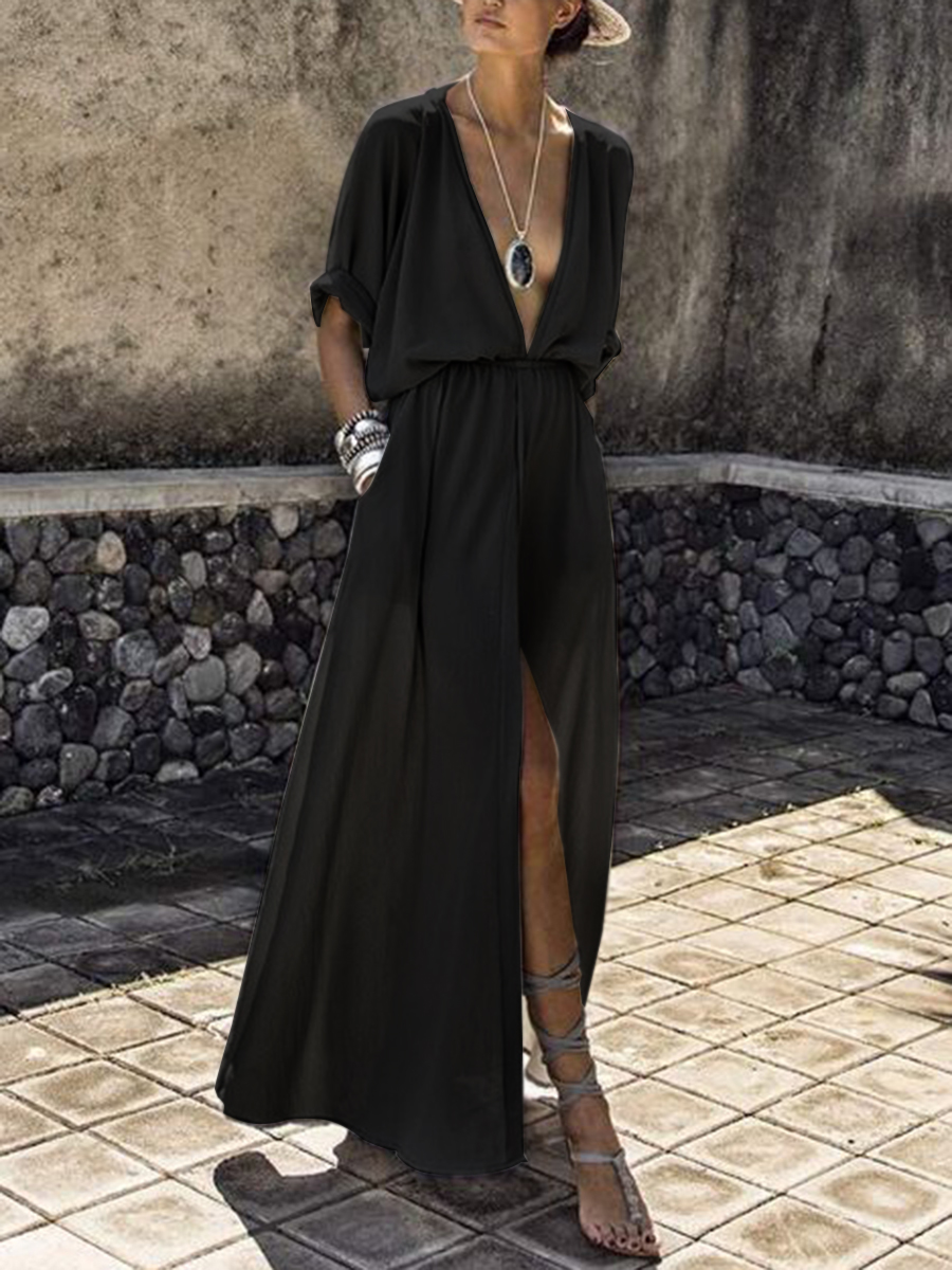 stunning black empire style dress with deep neckline