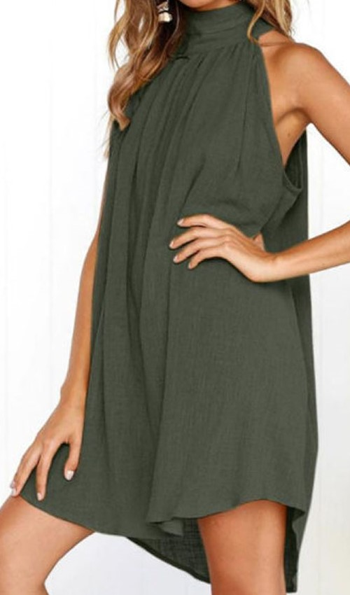 summer casual olive green dress with crew neck