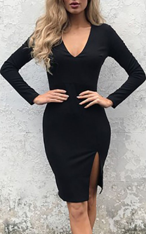 tight black long-sleeved dress with slit aside