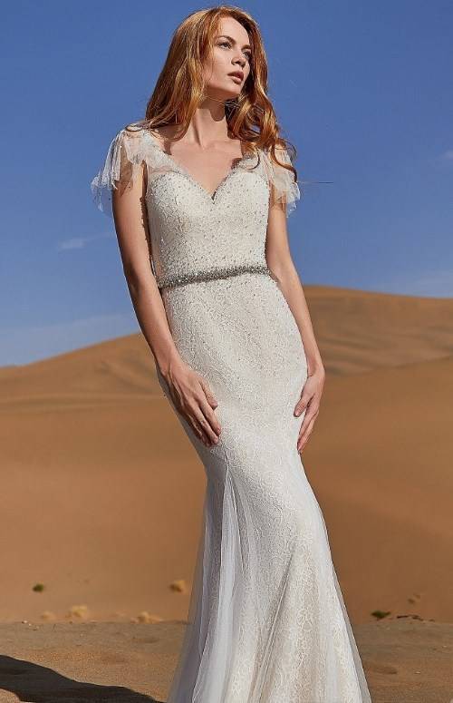 trumpet-mermaid tulle and lace wedding dress with court train