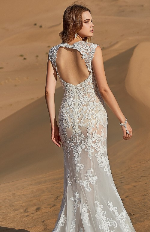 trumpet- mermaid wedding dress in tulle and lace with spectacular back and court train