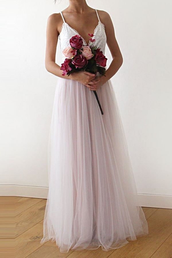 two colors wedding dress in ivory & pink with tulle skirt