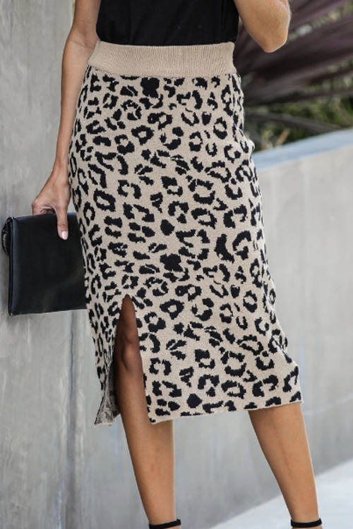 Autumn Look Black and beige Print Leopard Pencil Skirt