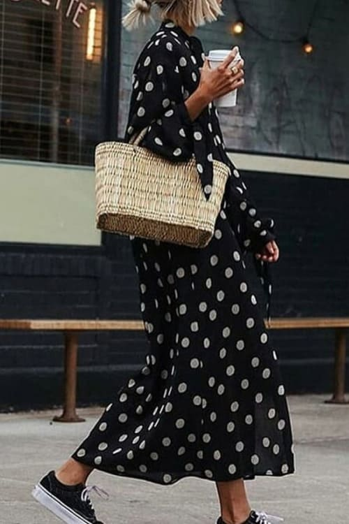 Casual Loose Polka Dot MaxiDress with Long Sleeves