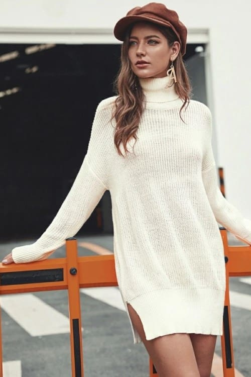 White Turtle Neck Sweater Dress