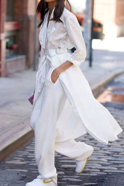 White is trending this season! off white look with a long trench coat