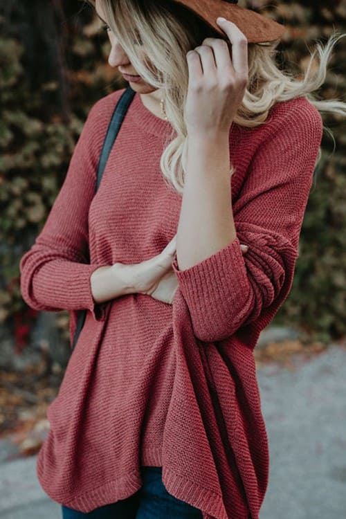Asymmetric Hem Plain Batwing Sleeve Sweater